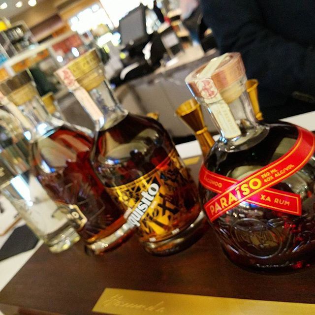 Rum tasting at the duty free.
