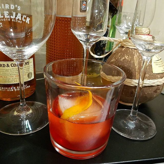 Negroni variation 2 1 oz Baijiu 1 oz comparison 1 oz noilley Pratt Rouge prep @annarocketeer says it reminds her of plastic balloons from her childhood. I don't think it is a winner (yet).