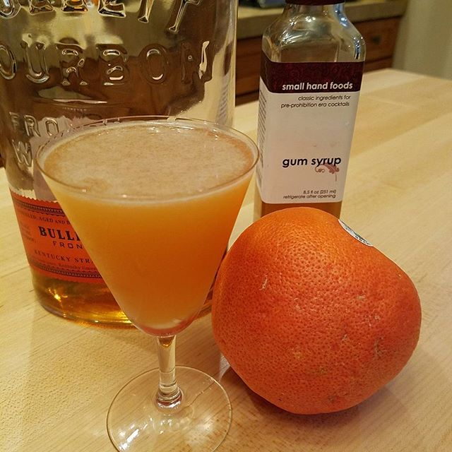 Brown Derby  2 Oz grapefruit juice 2 Oz bulleit bourbon 1/2 Oz gum syrup Shake, strain, enjoy.