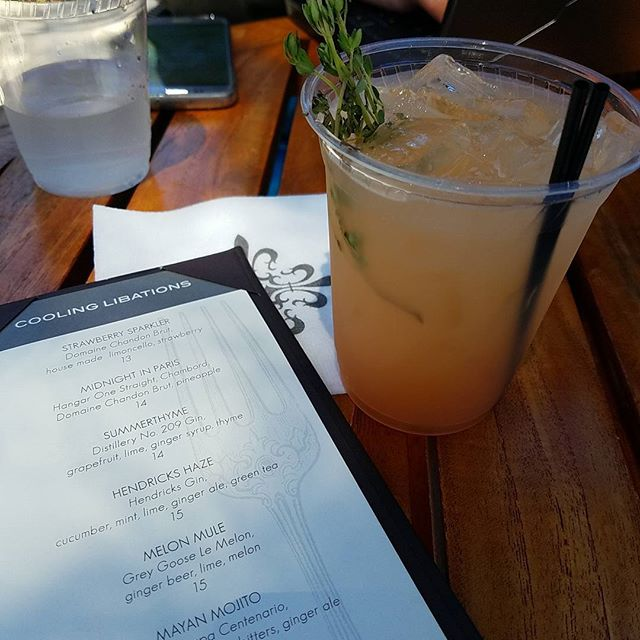 Summerthyme  At the Hotel Yountville pool bar Distillery 209 gin, grapefruit, lime, ginger syrup, thyme. Tastes summery.