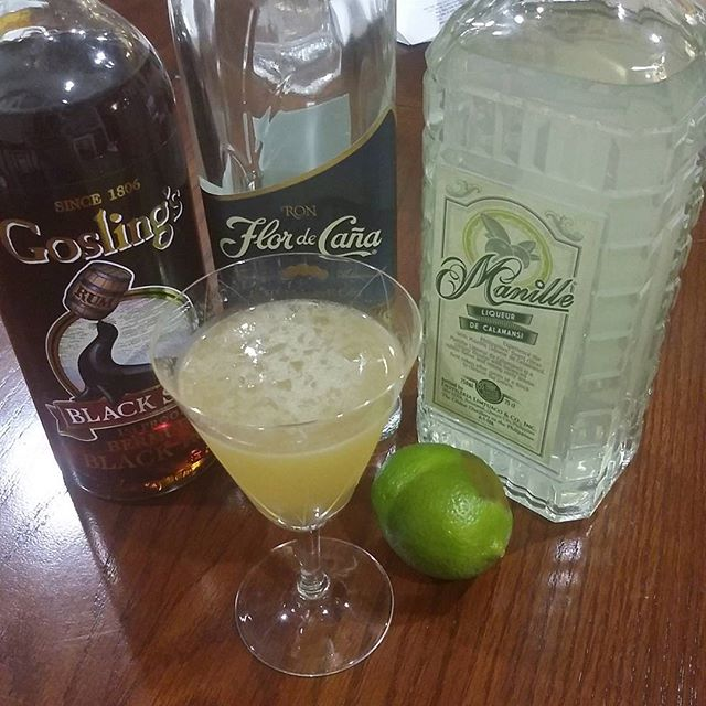 D aquarium Autocorrect named this one.  1 oz Flor de Cana extra Seco 1/2 oz gosling's 151 1/2 oz manille calamansi liqueur 1/2 lime juice 1/2 oz simple syrup 1:1  Happy rum day!