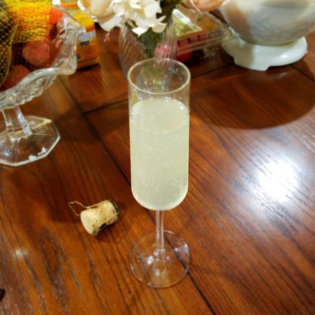 Italian 75 OK this is just a French 75 with prosecco instead of champagne.  1 1/2 Oz gin (I use Hendricks tonight) 3/4 Oz fresh lemon juice 1/4 Oz gimme syrup (out of simple and didn't feel like making more)  Shake and strain. Top with prosecco. Careful, it likes to fizz :)