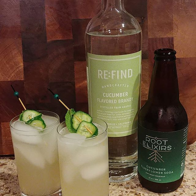 Cool as a Cucumber 1.5oz re:find cucumber brandy (vodka)  4 oz root elixere cucumber elderflower soda Garnished with Persian cucmbers and mint.